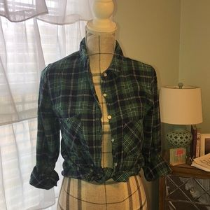 Green and navy flannel top